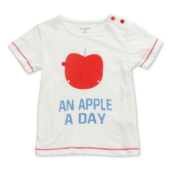 2015 New Little Maven Baby Girl Children Apple White Cotton Short Sleeve T-shirt Top
