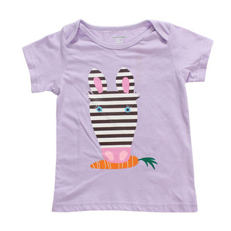 2015 New Little Maven Baby Girl Children Rabbit Purple Cotton Short Sleeve T-shirt Top