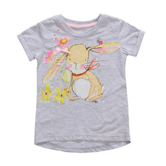2015 New Little Maven Baby Girl Children Cute Rabbit Grey Cotton Short Sleeve T-shirt Top