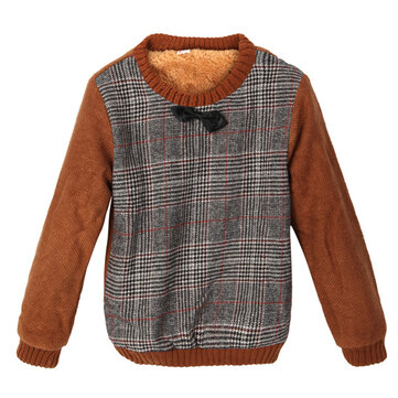 Baby Children Boys Thick Tie Lattice Plaid Fur Sweater