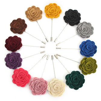 Men Flower Shape Lapel Handmade Wedding Suit Tuxedo Boutonniere Stick Brooch Pin