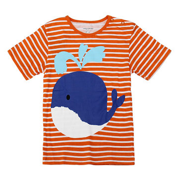 2015 New Little Maven Orange Stripe Lovely Whale Baby Children Boy Cotton Short Sleeve