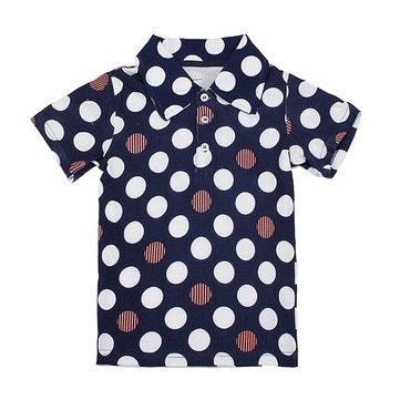 2015 New Little Maven Lovely Wave Point Lapel Baby Children Boy Cotton Short Sleeve