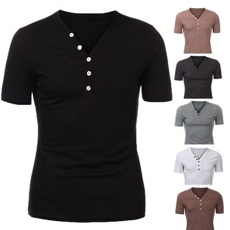 Men Cotton Button Plain Short Sleeve Henley T-shirt