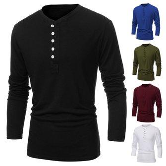 Mens Fashion Bottom Multicolor Slim Round Collar Long-sleeved T-shirt