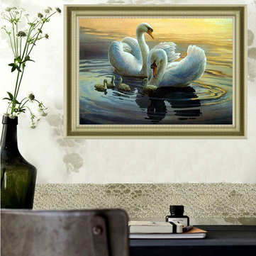 30x40cm DIY Handwork Swan Family Diamond Painting Rhinestone Cross-stitch Kits