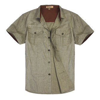 Men Viscose Flax Short Sleeve Single-breasted Shirt