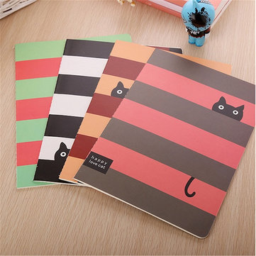 Large Cat Diary Notebook Notepad Stationery Writing Memo Journal Book Random