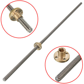 Machifit 500mm Lead Screw 8mm Thread 2mm Pitch Lead Screw with Copper Nut