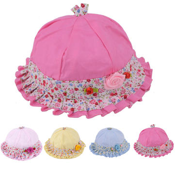Baby Girls Cute Flower Print Bucket Hat Cotton Summer Sun Beach Cap