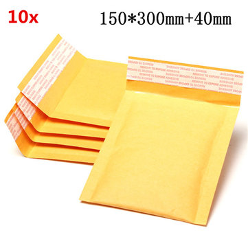 10pcs 150*300mm+40mm Bubble Envelope Yellow Color Kraft Paper Bag Mailers Envelope