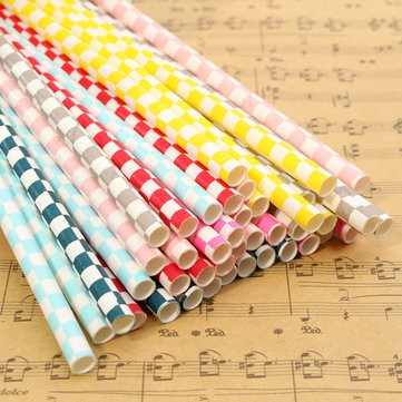 Biodegradable Checkered Pattern Paper Drinking Straws Striped Birthday For Wedding Party