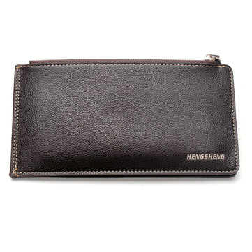 HENGSHENG Classical PU Leather Double Zippers Multi Card Holder Wallet For Men