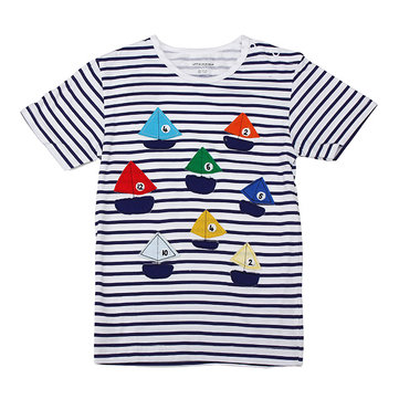 2015 New Little Maven Colorful Boat Baby Children Boy Cotton Short Sleeve T-shirt Top