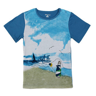 2015 New Little Maven Blue Sky Sea Baby Children Boy Cotton Short Sleeve T-shirt Top