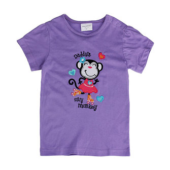 2015 New Summer Baby Girl Children Monkey Purple Cotton Short Sleeve T-shirt