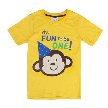 2015 New Lovely Monkey Baby Children Boy Pure Cotton Short Sleeve T-shirt Top