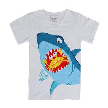 2015 New Lovely Shark Baby Children Boy Pure Cotton Short Sleeve T-shirt Top