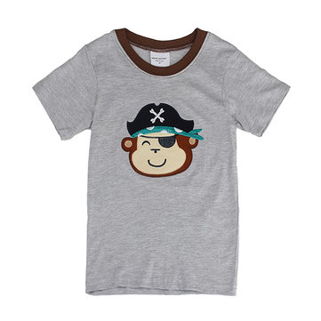 2015 New Lovely Monkey Baby Children Boy Pure Cotton Short Sleeve T-shirt Top