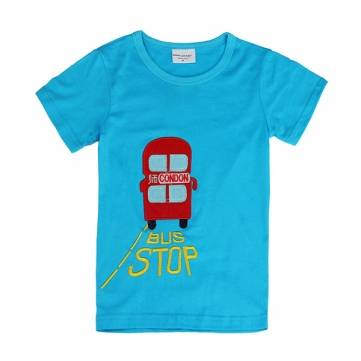 2015 New Lovely Bus Baby Children Boy Pure Cotton Short Sleeve T-shirt Top