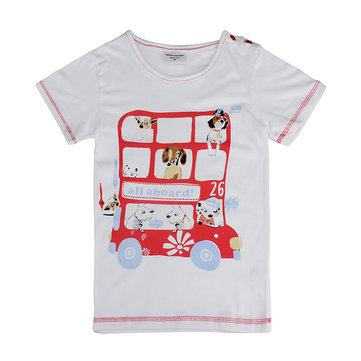 2015 New Lovely Pet Bus Baby Children Boy Pure Cotton Short Sleeve T-shirt Top