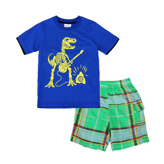 2015 New Lovely Dinosaur Blue Baby Children Boy Pure Cotton Short Sleeve + Shorts Suit