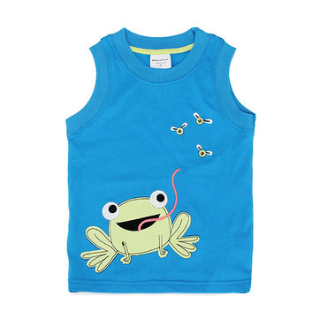2015 New Lovely Frog Baby Children Boy Pure Cotton Vest Short Sleeve T-shirt Top
