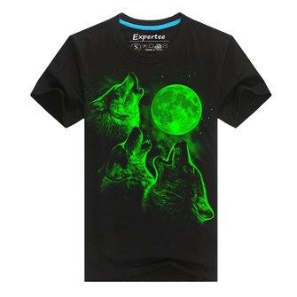 Homens algodão misturado 3d impresso lobo noctilucentes t-shirt de manga curta