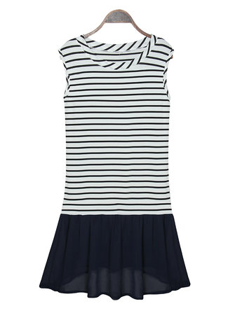 Women Stripe Sleeveless Knitted Chiffon Patchwork Vest Mini Dresses