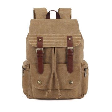 KAUKKO Men School Canvas Big Retro Satchel Black Khaki Green Backpack