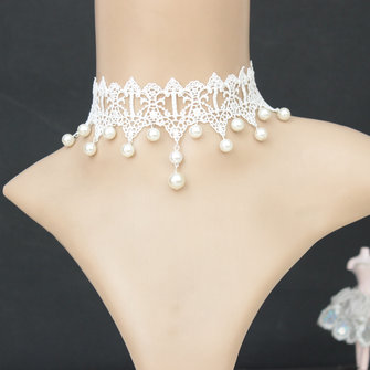 Gothic Retro White Lace Collar Pearl Pendant Necklace Wedding Bridal Accessories