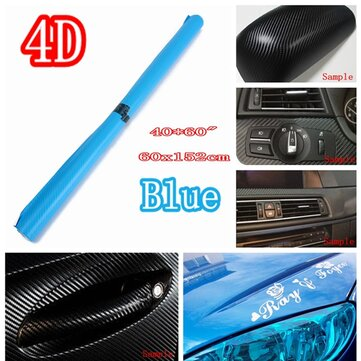 24 Inch X 60 Inch 4D Gloss Blue Car Auto Carbon Fiber Drum Wrap Skin Sticker Decal Cover
