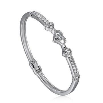 Elegant Silver Rhinestone Crystal Heart Shaped Bracelet Bangle For Women