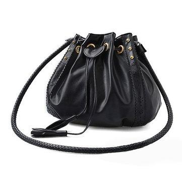 Женщины вязание шнурок ведро Crossbody мешки случайные сумки на ремне заклепок
