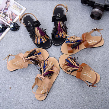 Summer Women Tassels Fringe Slingback Flat Sandals Moccasins Shoes