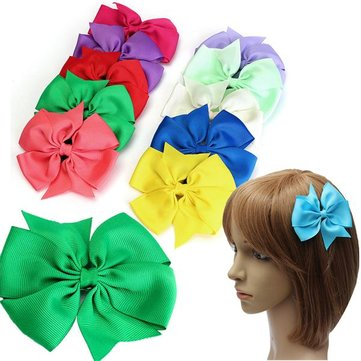 10 Pcs Girl Kids Bowknot Hair Clip Ribbon Bows Accessory Headpiece Grosgrain Barrette