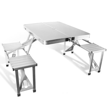 Outdoor Aluminum Folding Table Set Foldable Desk 4 Chairs For C&ing Hiking Picnic BBQ  sc 1 st  Banggood & Outdoor Aluminum Folding Table Set Foldable Desk 4 Chairs For ...