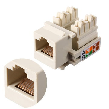 Cat5e RJ45 LAN Wall Punch Down Keystone Jack Modular Network Ethernet White Connector
