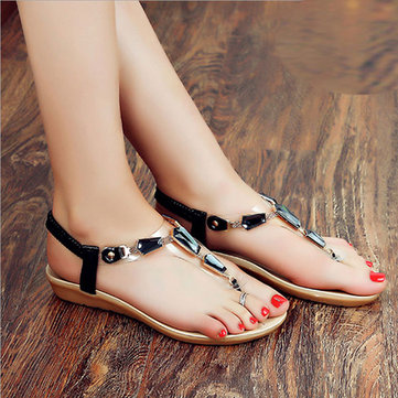Summer New European Style Women Slip-On Diamond Printing Soft Sole Clip Toe Flat Sandal Sh