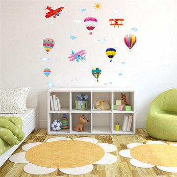طائرات منطاد الهواء الساخن سحابة Sky دي الجدار ملصق المنزل صائق الاطفال ديكور غرفة