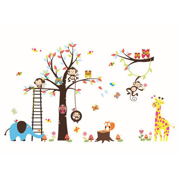 DIY Monkey Tree Elephant Removable Decal Home Room Decor Wall Sticker Wallpaper