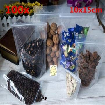 100pcs Resealable Transparent Plastic Zip Lock Bags 10x15cm