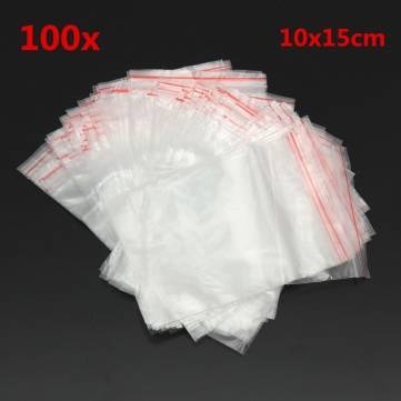 100pcs Resealable Transparent Clear Jewelry Plastic Zip Lock Bags 10x15cm