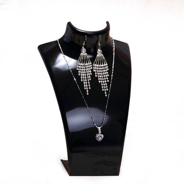Acrylic Bust Necklace Earrings Display Stand Mannequin Jewelry Holder