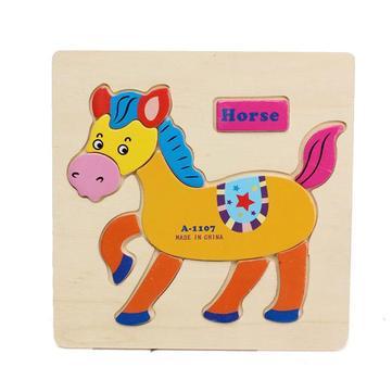 나무 만화 말 동물의 디자인 퍼즐 빌딩 블록 장난감 장난감 퍼즐 아기의 선물