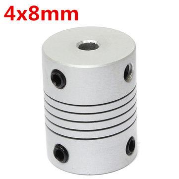 4mm x 8mm Aluminum Flexible Shaft Coupling OD19mm x L25mm CNC Stepper Motor Coupler Connector