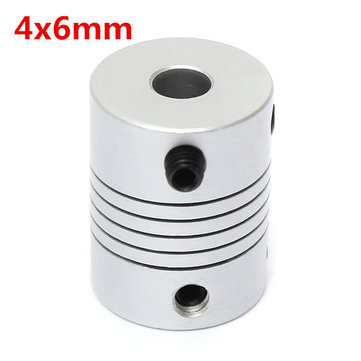 4mm x 6mm Aluminum Flexible Shaft Coupling OD19mm x L25mm CNC Stepper Motor Coupler Connector
