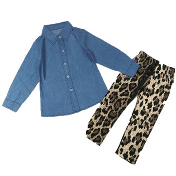 Kids Girls Long Sleeve Blue Set Denim Shirt & Leopard Pant Outfit