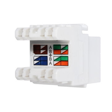 White Cat 6 RJ45 8P8C Punch Down Keystone Modular Ethernet Snap-in Jack Network Adapter