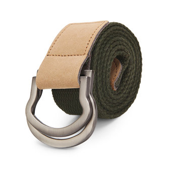 115CM Men Double Ring Loop Canvas Belt Alloy Leather Buckle Pants Strip